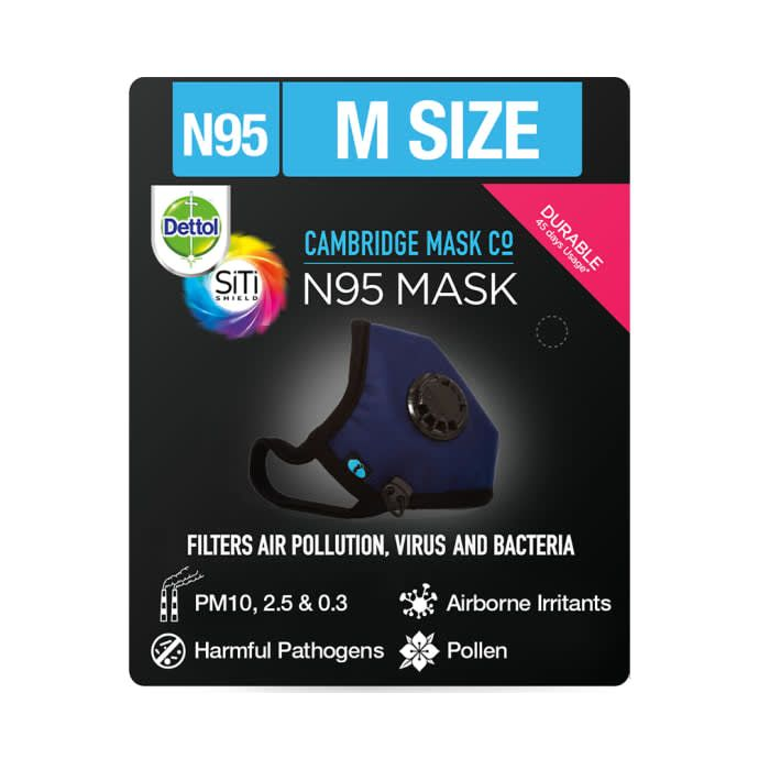 Dettol Cambridge N95 Mask Anti-Pollution, Reusable, Washable with Breathing Valve Medium Navy