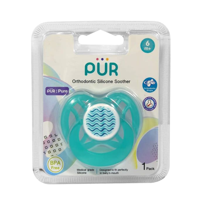 Pur Orthodontic Silicone Soother 6m+ Blue Orthodontic Shape