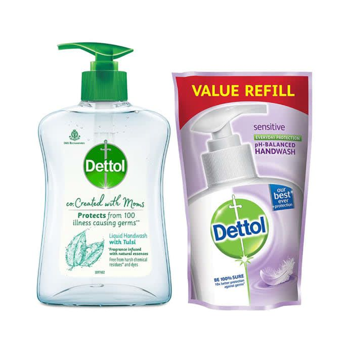 Dettol Combo Pack of Co-Created with Moms Handwash 200ml and Refill 175ml with Tulsi