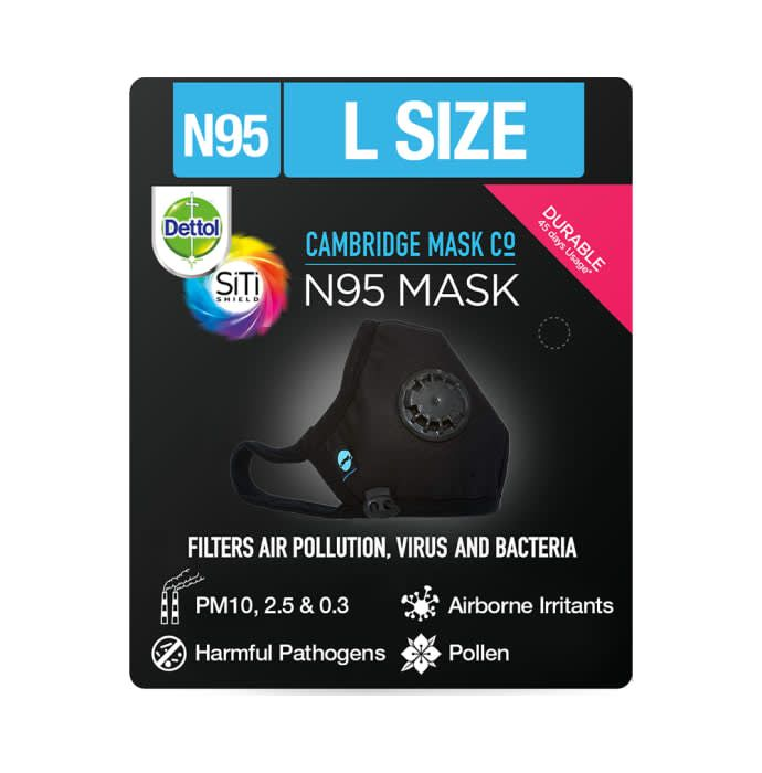 Dettol Cambridge N95 Mask Anti-Pollution, Reusable, Washable with Breathing Valve Large Black