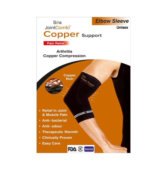 Sira Copper Compression Elbow Sleeve Support Large Black