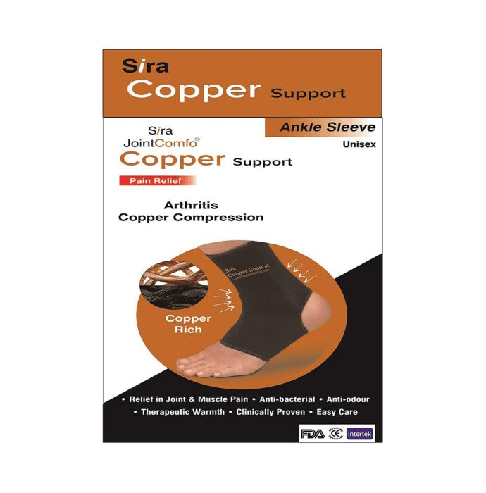 Sira Copper Compression Ankle Sleeve Support Small