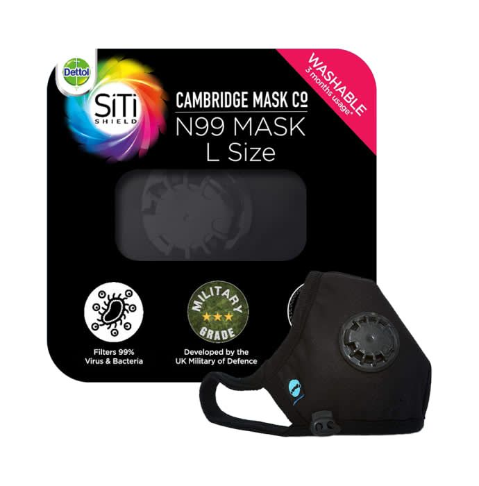 Dettol Cambridge Pro N99 Mask Anti-Pollution, Reusable, Washable with Breathing Valve Large Black