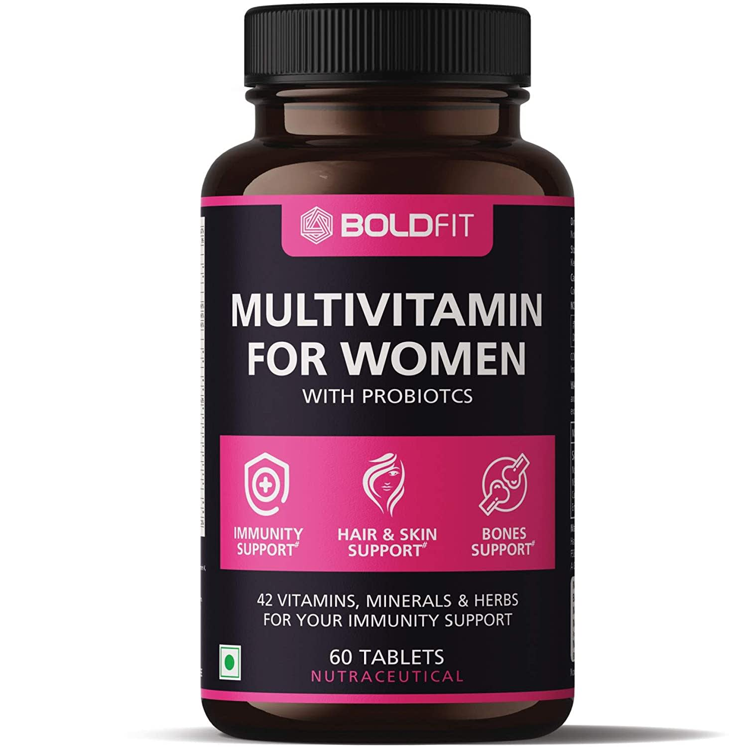 Boldfit Multivitamin For Women With Probiotics Supplement With 42 Vital Ingredients For Immunity, Hair, Skin & Bone Support - (60 Tablets)