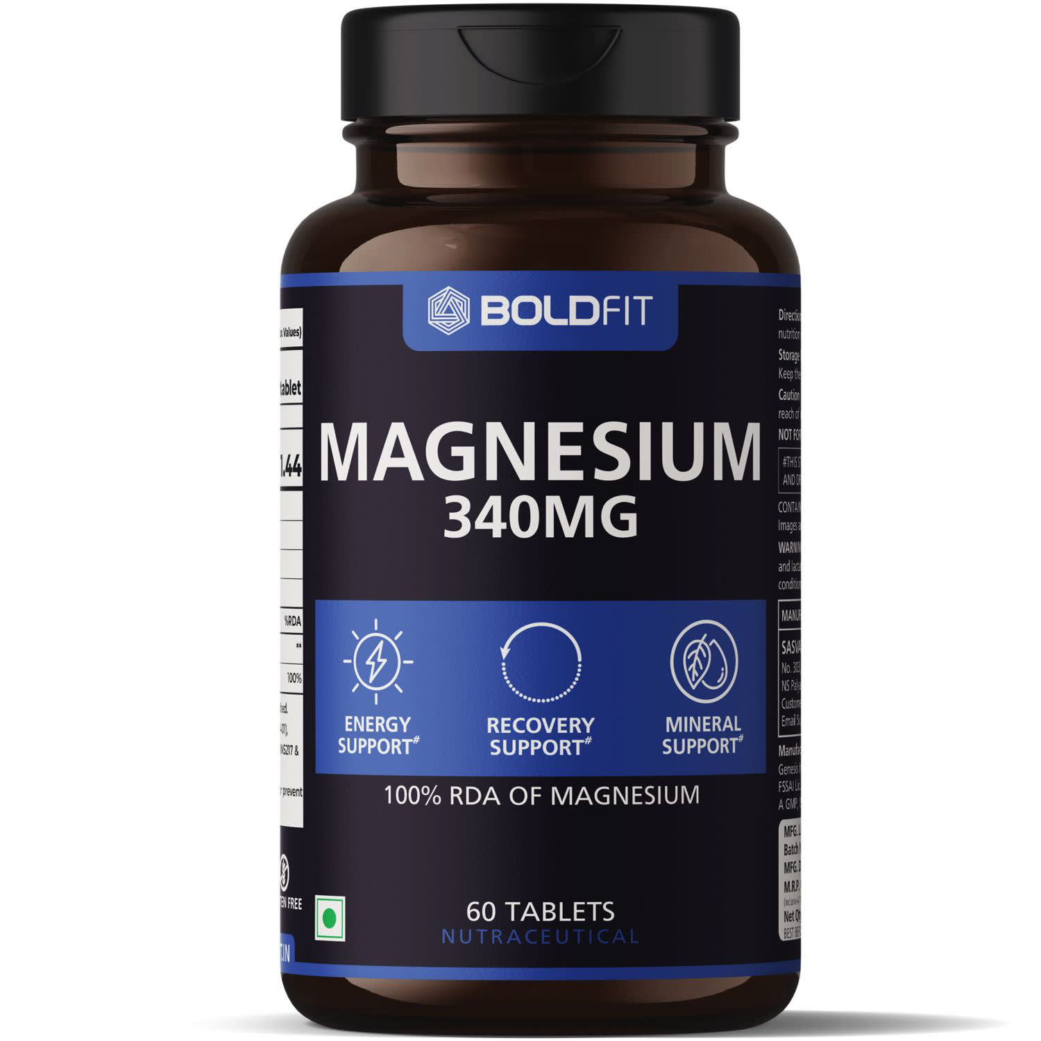 Boldfit Magnesium 340 Mg Supplement, Magnesium Oxide For Recovery Support, Relaxation & Energy Support, 100% RDA Of Magnesium - 60 Vegetarian Tablets