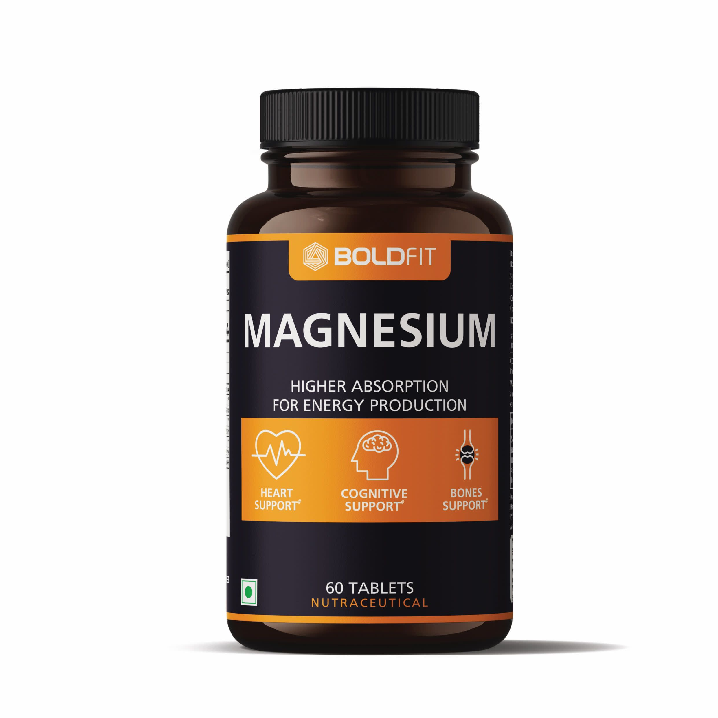 Boldfit Magnesium Complex 824mg Supplement with Magnesium Glycinate, Magnesium Citrate, Magnesium Oxide - 60 Veg tablets