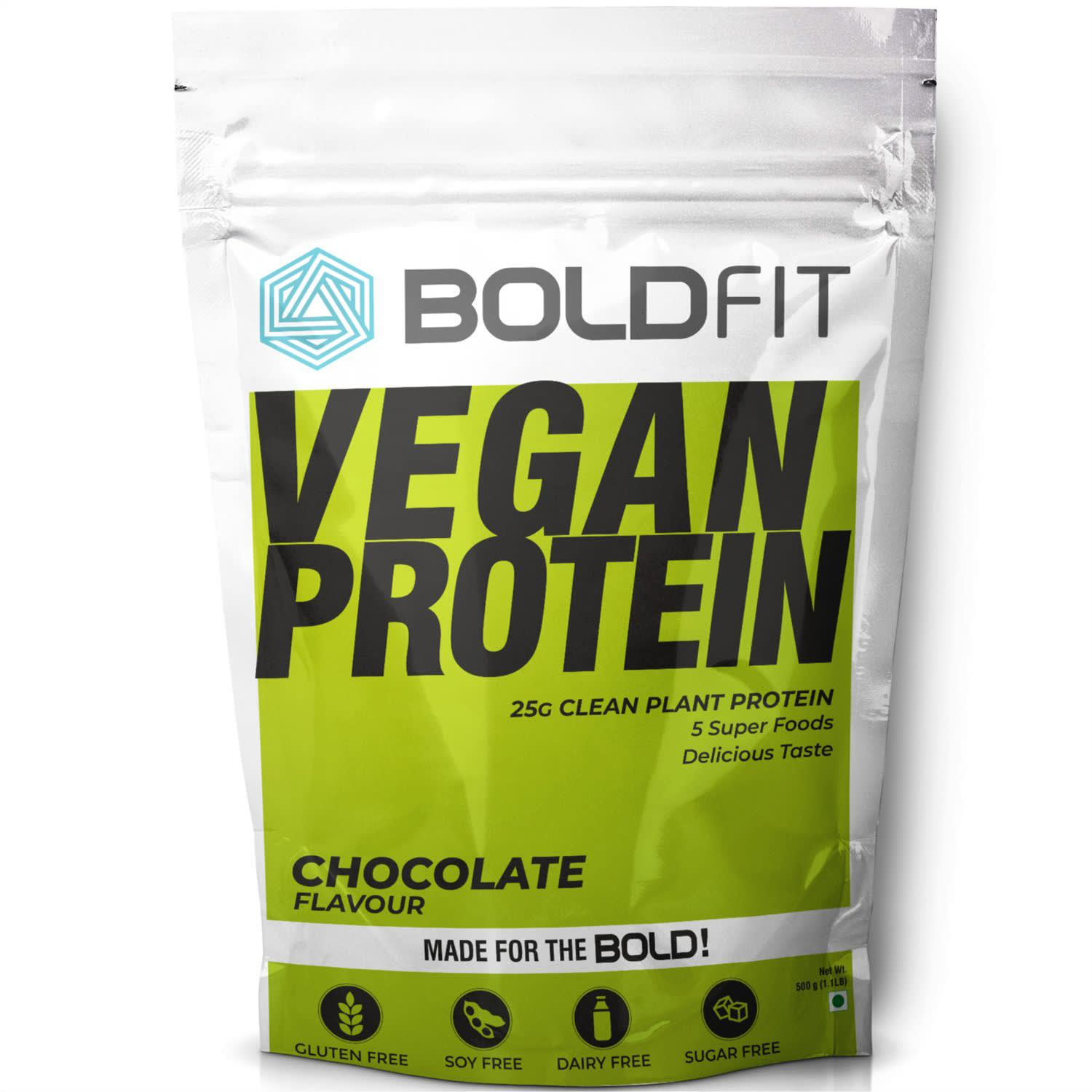 Boldfit Plant Protein Powder For Men & Women, Plant Based Vegan Protein Supplement With Superfoods (Chocolate Flavor) - 500GM.