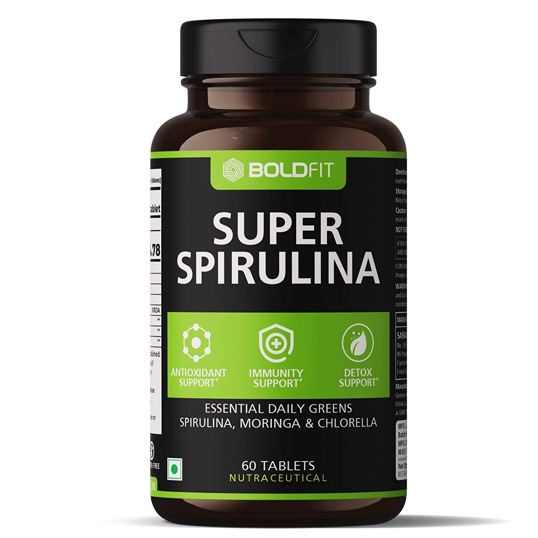 Boldfit Spirulina 500 Mg Supplement With Moringa Oleifera & Chlorella For Immunity & Antioxidant Support - 60 Veg Tablets