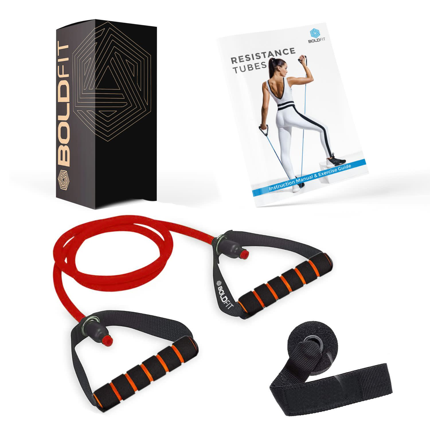 Boldfit Resistance Tube with Foam Handles (Red -10KG)