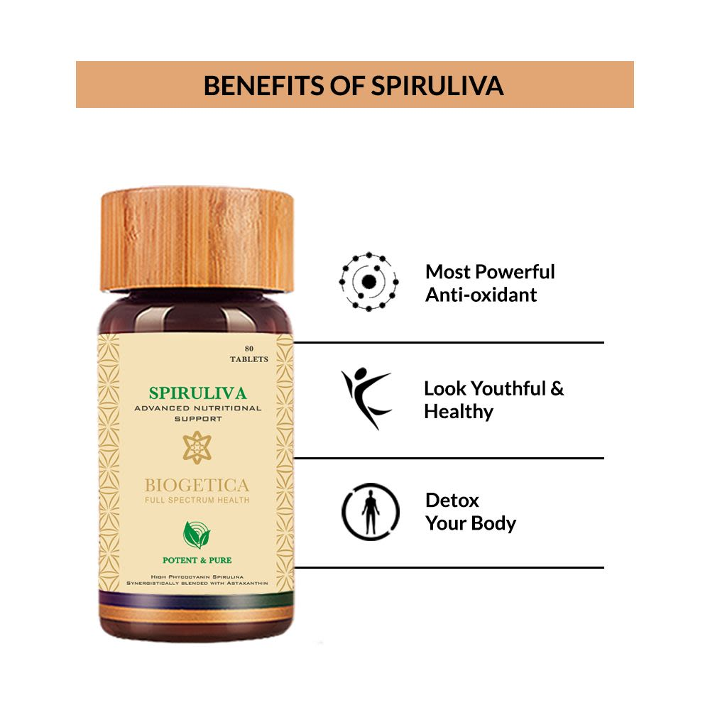 Biogetica Spiruliva For Nutrition That Crosses The Blood Brain Barrier -80 Capsules