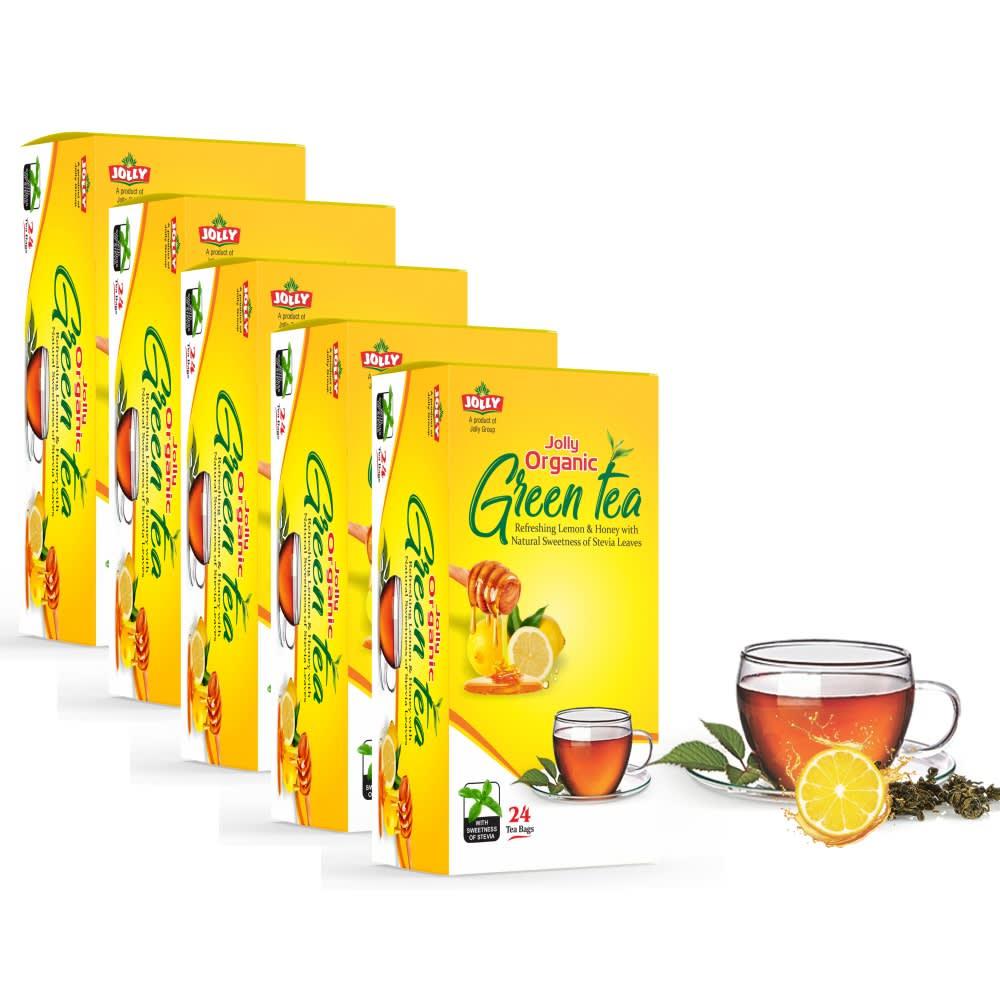 JOLLY Organic Green Tea | Refreshing Lemon & Honey with Stevia Leaves | Pack of 5