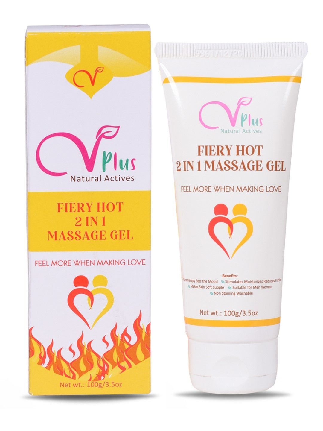 Vigini Plus 100% Natural Actives  Fiery Hot 2 In 1  Aromatherapy Massage Gel Effective Lubricant Lube Jelly Water Based Lubricating Lubrication for Men Women