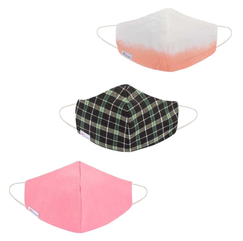 Dr. Morepen Protect 3 Ply Cotton Mask Washable For Women & Men Pack of 3 Pcs, Reusable Face Mask
