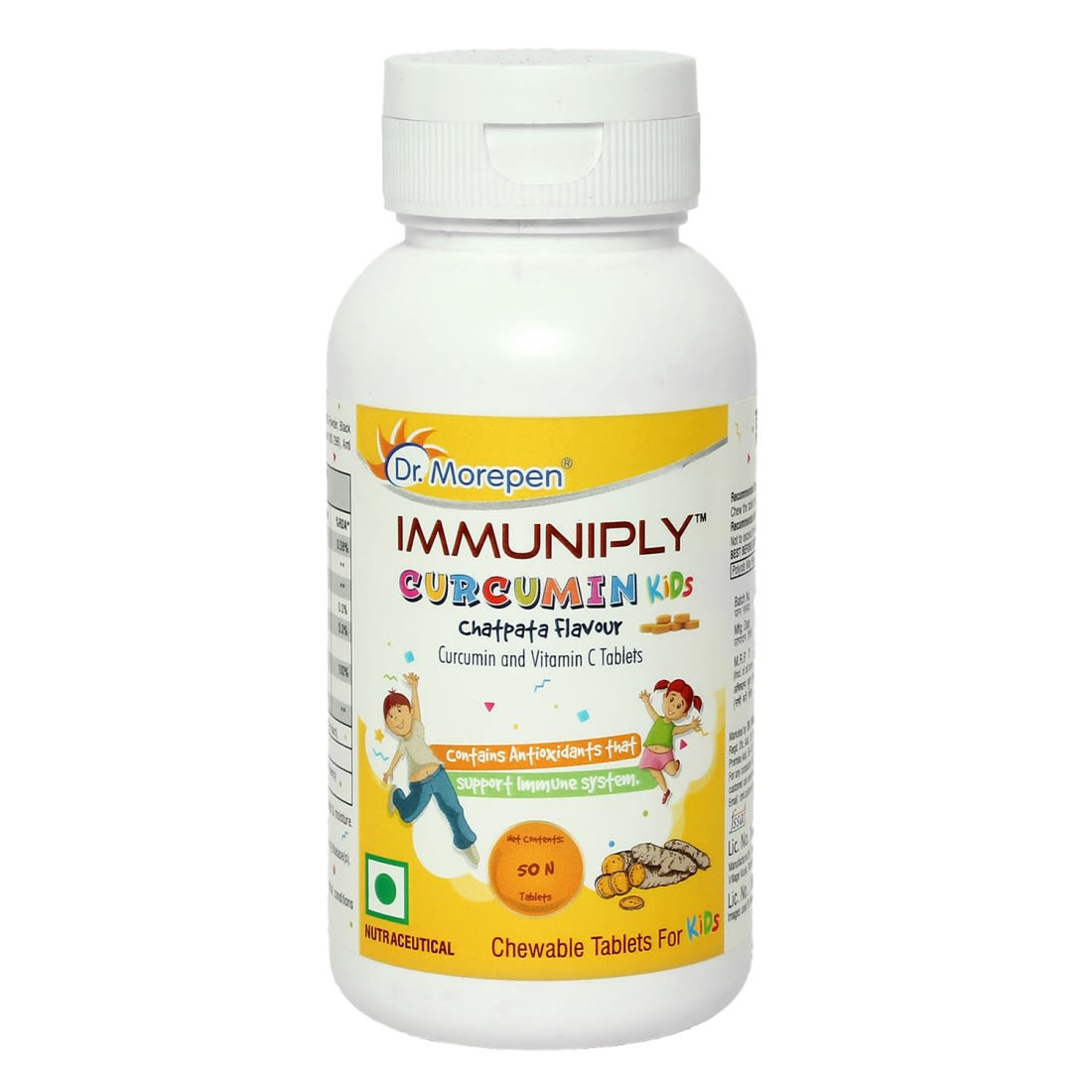 Dr. Morepen Immuniply Turmeric Curcumin Tablets For Kids - 50 Chewable Tablets