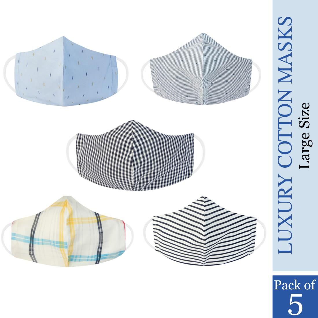 Dr. Morepen Cotton Mask Washable For Men, Pack of 5 Reusable Masks L Size