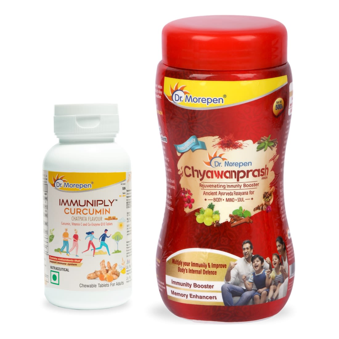Dr. Morepen Immunity Boosters Combo-Chyawanprash 500gm & Immuniply Immunity Tablets With Curcumin & Vitamin C Supplement For Adults 50 Chewables