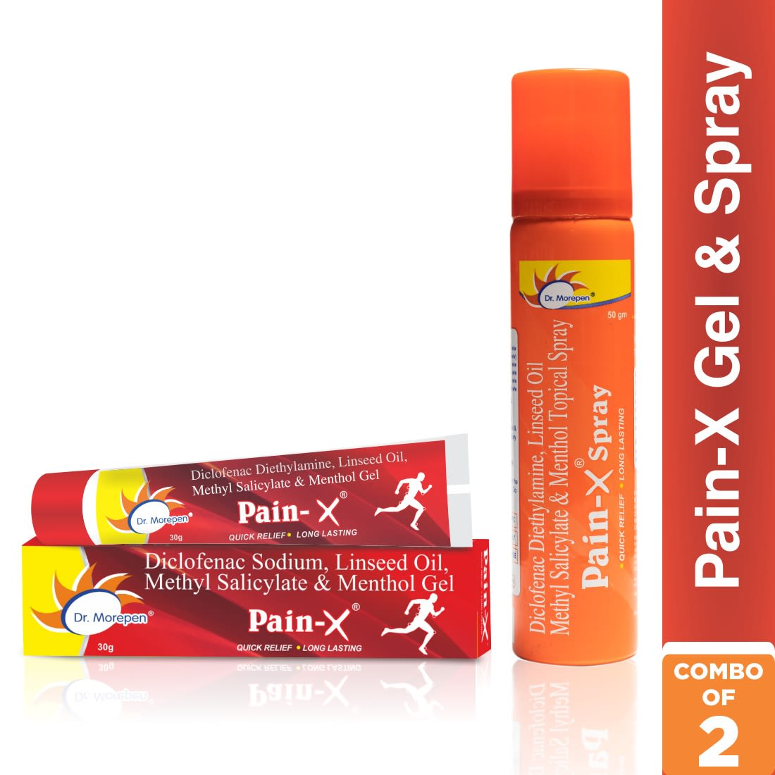 Dr. Morepen Body Pain Relief Combo - Pain-X Spray - 50g & Pain-X Gel - 30g