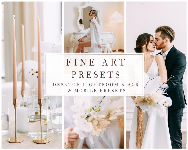 Fine Art Presets - 4 Presets BRIGHT WEDDING - Desktop Lightroom + Mobile Presets, Instagram Presets, Wedding Photography, DNG