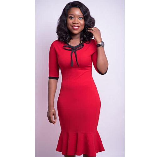 Onitshamarket - Buy Red And Black Peplum Hem Bodycon Dress/Neck Detail Clothing
