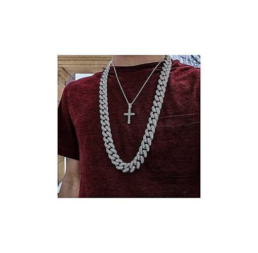 Onitshamarket - Buy Iced Out Cuban Link Chain (Silver)