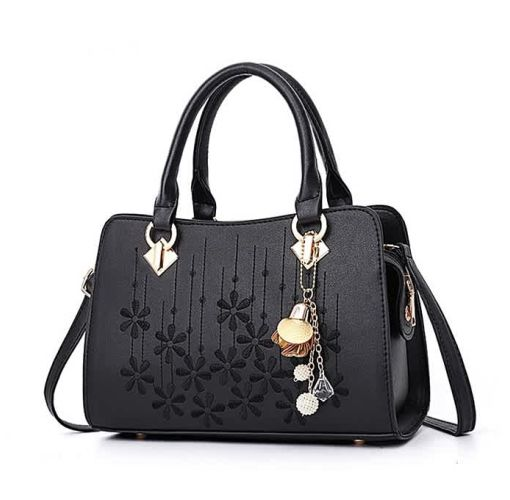 Onitshamarket - Buy Fashion Lady Leather Handbag Embroidery Flower Handbag - Black
