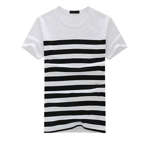Onitshamarket - Buy Fashion Men's Fashion Casual Stripe Printed Short Sleeve T-shirt Pullover Top Blouse Tee-Black