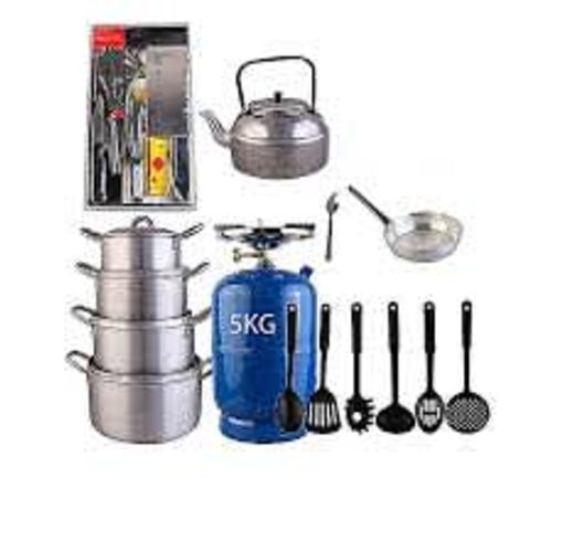 Onitshamarket - Buy Economy Kitchen Bundle (5kg Gas Cylinder + 4 Pots + 1 Kettle + 1 Frying Pan + 1 Set Of Non-stick Frying Spoons + 1 Small Knife + 1 Set Of Table Spoons).