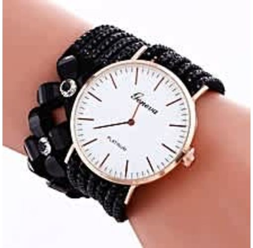 Onitshamarket - Buy Elegant Women Leather Bracelet Wristwatch - Black
