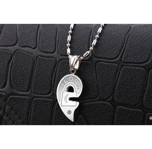 Onitshamarket - Buy Fashion Diamond Key Heart Pendant Puzzle Titanium Steel Couple Necklace Men's Jewelry