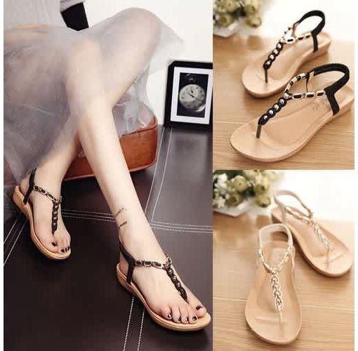 Onitshamarket - Buy Womens Summer Fashion T Strap Beads Decorate Elastic Back Strap Sandals Flats