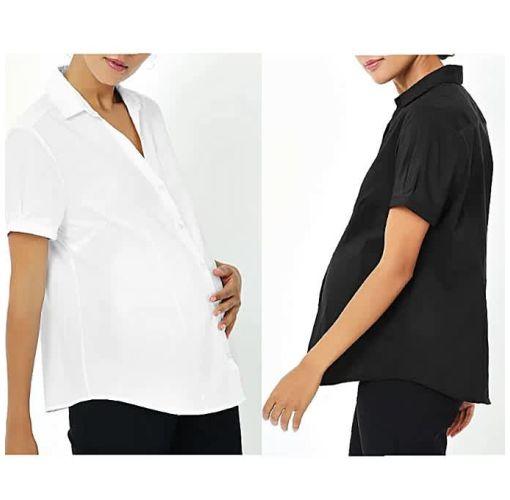 Onitshamarket - Buy 2 Pack Black And White Maternity Shirt