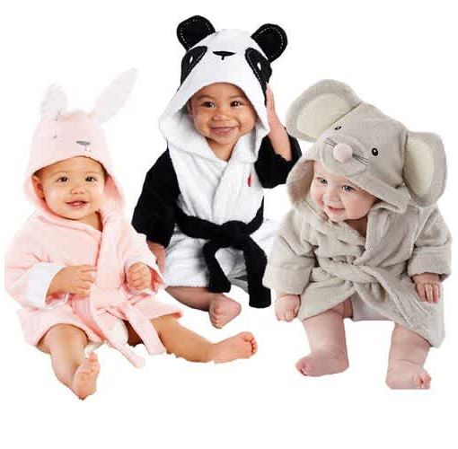 Onitshamarket - Buy Boy Girl Animal Baby Bathrobe Baby Hooded Bath Towel Infant Bathing Honey Baby