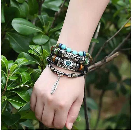Onitshamarket - Buy Fashion Charm Evil Eye Bead/leather Bracelets With Feather