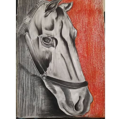 Onitshamarket - Buy Generic Horse Canvas Oil Pastel work-multi