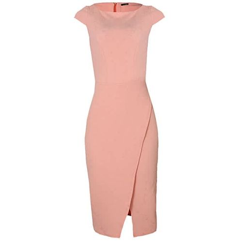 Onitshamarket - Buy Cap Sleeve Fitted Corporate Wrap Dress - Peach