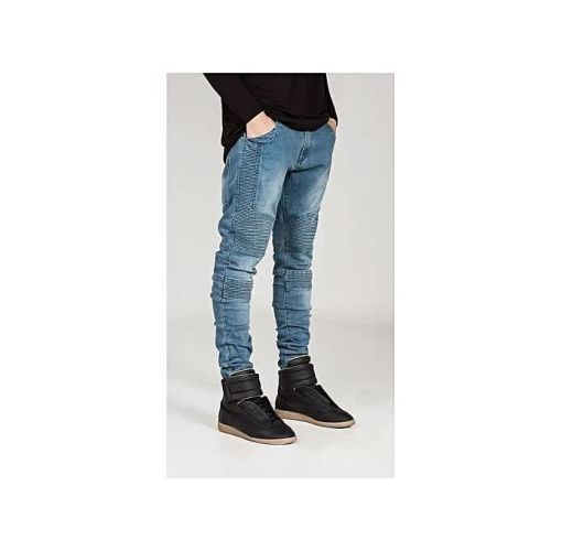 Onitshamarket - Buy Fashion Men Skinny Jeans Men Runway Slim Racer Biker Jeans Strech Hiphop Jeans For Men-blue Clothing