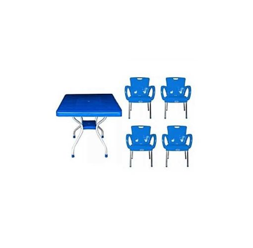 Onitshamarket - Buy Universal Plastic Chair With Arms & Iron Legs Table - Blue Furniture