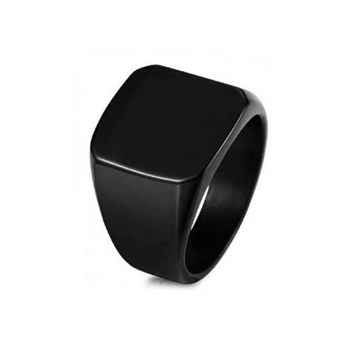 Onitshamarket - Buy Men's Biker Polished Stainless Steel Ring - Black