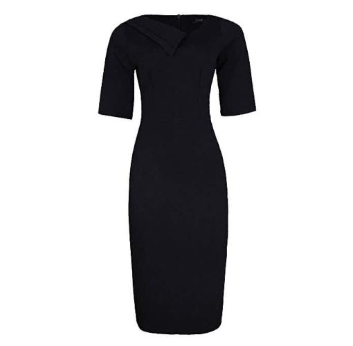 Onitshamarket - Buy Double Collar Detail Corporate Dress - Black