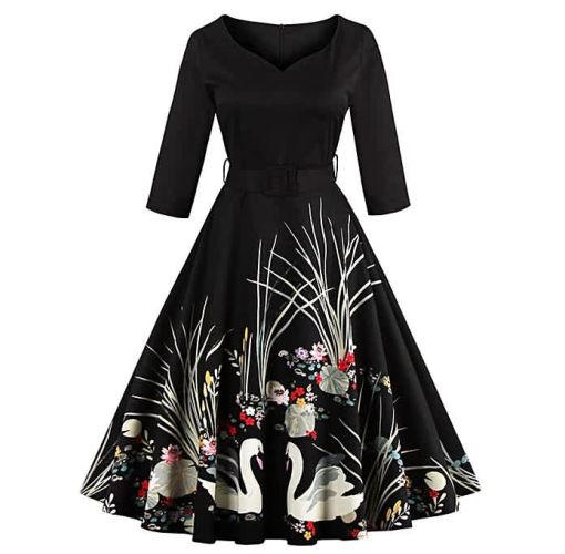 Onitshamarket - Buy Women Dresses Printing V-neck Party Dress Elegant Dress Casual Ball Gown Dresses For Women - Black