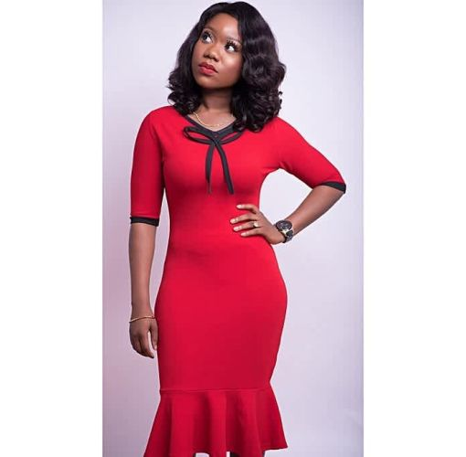 Onitshamarket - Buy Red And Black Peplum Hem Bodycon Dress/Neck Detail