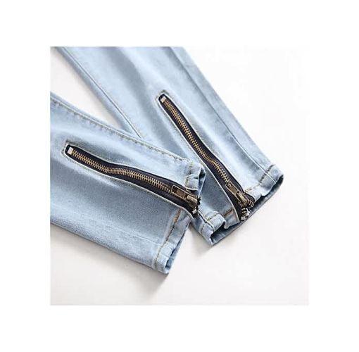 Onitshamarket - Buy Men's Jeans New Locomotive Knee Pleated Hole Side Zip Stretch Feet Men's Pants-blue