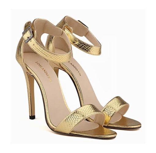 Onitshamarket - Buy generic Loslandifen Open Toe Stiletto Heels With Ankle Strap - Gold