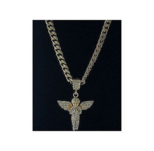 Onitshamarket - Buy Fashion Cuban Link Gold Chain With Praying Angel Pendant