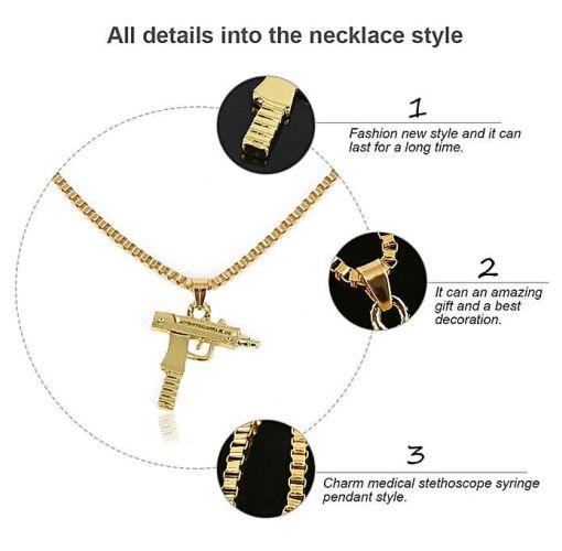 Onitshamarket - Buy Fashion Special Personality Fashion Men Necklace Hip Hop Style Men Gun Shape Alloy