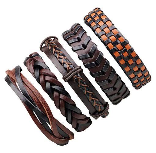 Onitshamarket - Buy Men Leather Weaving Bracelet Set 6PCS Men's Jewelry