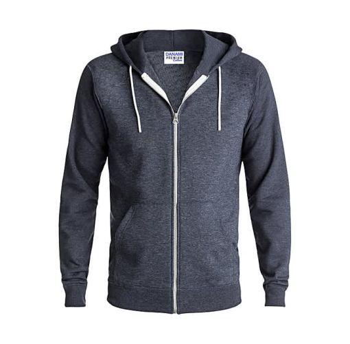 Onitshamarket - Buy Danami Plain Zipper Long Sleeve Hoodie - Dark Grey