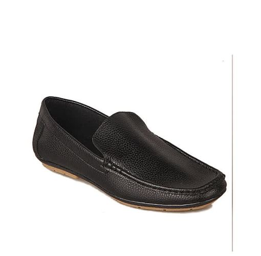Onitshamarket - Buy Plain Casual Synthetic Leather Loafers - Black