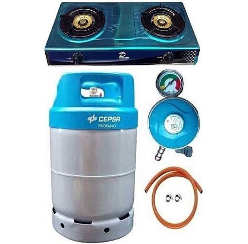 Onitshamarket - Buy CEPSA Gas Cylinder 12.5 With Universal Gas Cooker, Metered Regulator, Hose & Clips - Blue Cap