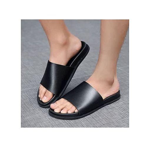 Onitshamarket - Buy Fashion Unisex New Black Leather Palm Slippers